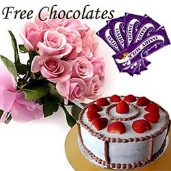 Cake And Chocolates With Pink Roses Bouquet