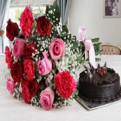 Carnation and Roses Bouquet with Dark Chocolate Cake