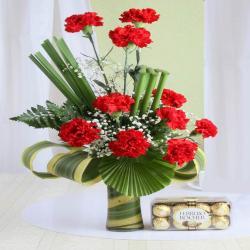 Carnation Arrangement of Ferrero Rocher Chocolate