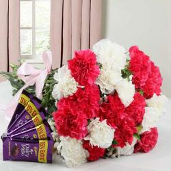 Carnation Bouquet and Cadbury Dairy Milk Chocolate Combo