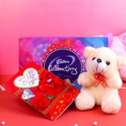 Celebration Chocolate Pack and Teddy Bear with Greeting Card