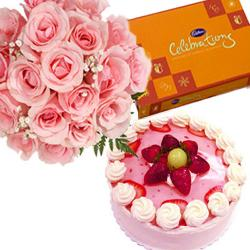 Celebration with Strawberry cake and Pink Roses