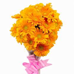Cellophane Packing 18 Yellow Gerberas Bouquet