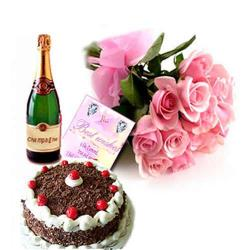 Champagne Pink Roses Hamper with Cake and Card