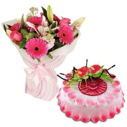 Cheerful Flowers With Strawberry Cake