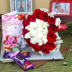 Chocolate Birthday Celebrations with Roses Bouquet