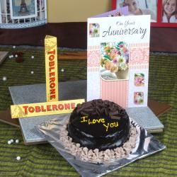 Chocolate Cake and Anniversary Card with Toblerone Chocolates