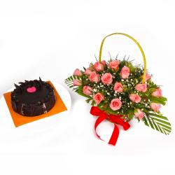 Chocolate Cake and Basket of Pink Roses Combo