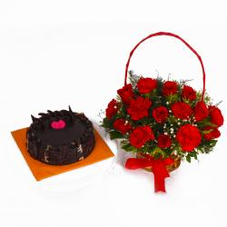 Chocolate Cake and Basket of Red Roses with Carnations