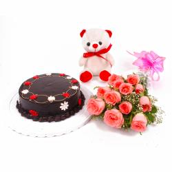 Chocolate Cake and Dozen Pink Roses with Teddy Bear Combo