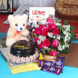 Chocolate Cake Treat Fresh Flowers with Teddy and Assorted Chocolate.