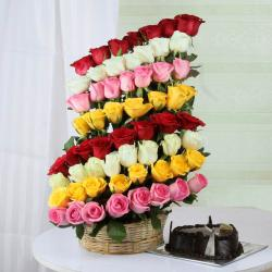 Chocolate Cake with Decorated Layer Mix Roses Arrangement