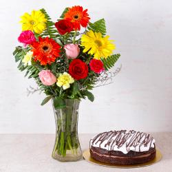 Chocolate Cake with Fifteen Assorted Flowers Vase