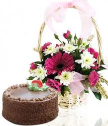 Chocolate Cake With Gerberas Arrangement