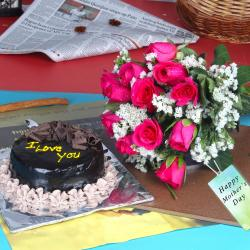 Chocolate Cake with Pink Roses Bouquet for Mothers Day Gift Online