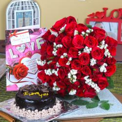 Chocolate Cake with Red Roses Bouquet and Love Greeting Card