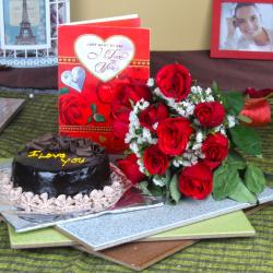 Chocolate Cake with Roses Bouquet and Love Greeting Card