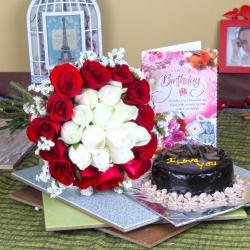 Chocolate Cake with Roses Hamper for Birthday Party
