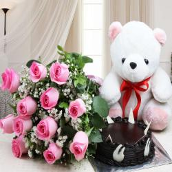 Chocolate Cake with Teddy and Roses Bouquet
