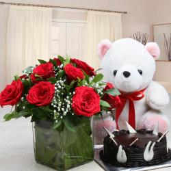 Chocolate Cake with Teddy Bear and Red Roses