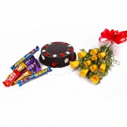 Chocolate Cake with Yellow Roses and Cabury Chocolate Bars