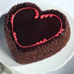 Chocolate Choco Chips Heart Shape Cake