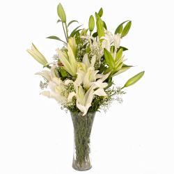 Classical Vase of Dozen White Lilies
