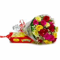Colorful Bouquet of 20 Roses with Indian Soan Papdi