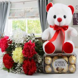 Colorful Carnations with Ferrero Rocher Chocolates and Teddy Bear