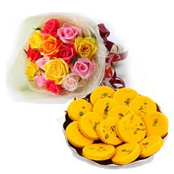 Colorful Roses Bouquet with Kesar Peda