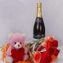 Colorful Roses Bouquet with Wine Bottle and Teddy Bear
