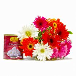 Colorful Ten Gerberas Bouquet with Rasgullas