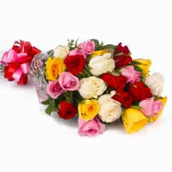 Colorful Twenty Five Roses Bouquet