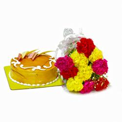Combo of Assorted Carnations with Butterscotch Cake