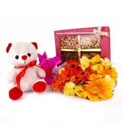 Combo of Dryfruits and Teddy Bear and Fresh Flowers Bouquet