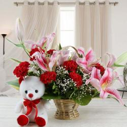 Combo of Exotic Flower Basket with Teddy Bear