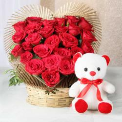 Combo of Heart Shape Arrangement of Red Rose with Teddy Bear