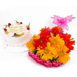 Combo of Pineapple Cake and Bouquet of Gerberas with Carnations