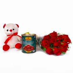 Combo of Red Roses and Teddy Bear with Gulab Jamun Sweets