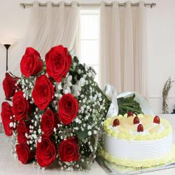 Combo of Roses Bouquet with Pineapple Cake