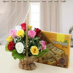 Combo of Soan Papdi Sweet with Colorful Roses Basket Arrangement