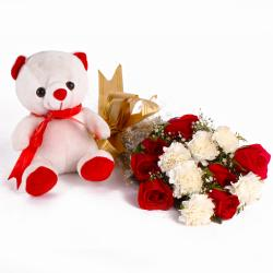 Combo of Teddy with Red Roses and White Carnations