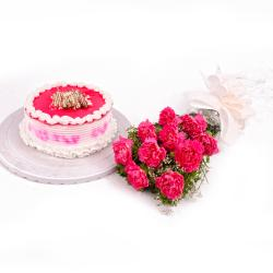 Combo of Ten Carnation Bunch and Strawberry Cake