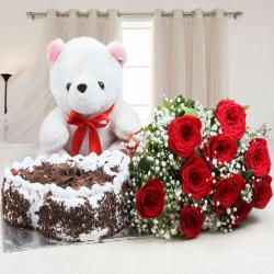 Complete Hamper of Cake with Roses and Teddy