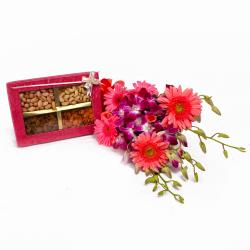 Crunchy Dryfruits with Bouquet of Orchids and Gerberas