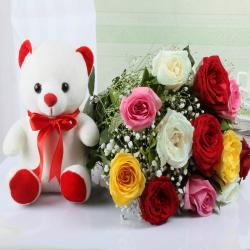 Cuddly Teddy Bear and Roses Bouquet