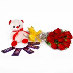 Cute Birthday Combo of Roses, Teddy and Chocolates