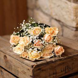 Cute Peach Roses Bouquet