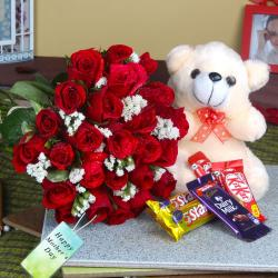 Cute Teddy and Chocolates with Fresh Roses For Loving Mom