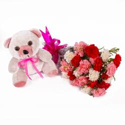 Cute Teddy Bear with Assorted Carnations Bouquet
